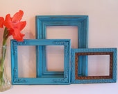 3 Vintage Upcycled Turqoise Aqua Frame Set Home Wall Office Decor - bauble2bijou