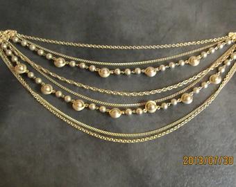 1940,s vintage Art deco gold metal necklaces