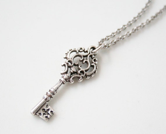 antique silver key necklace classic key necklace by