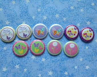 "M2MG Butterfly Blossoms, 1"" Flatback Buttons, 10 Buttons Total"