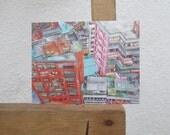 Taipei Taiwan Original Painting Postcard (4x5.5 inches)