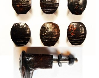 Free Shipping 6 Railroad Spike Knobs Door Pulls Cupboard Dresser Drawer Handle Replacement Set Hand Made Vintage Antique Rustic Re-purposed