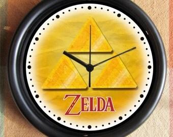 LEGEND OF ZELDA Triforce Gold Big 10 inch black wall clock  Ships Tomorrow
