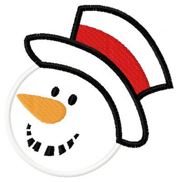 Snowman Face Silhouette Embroidery Applique by Appliquedesignsnet