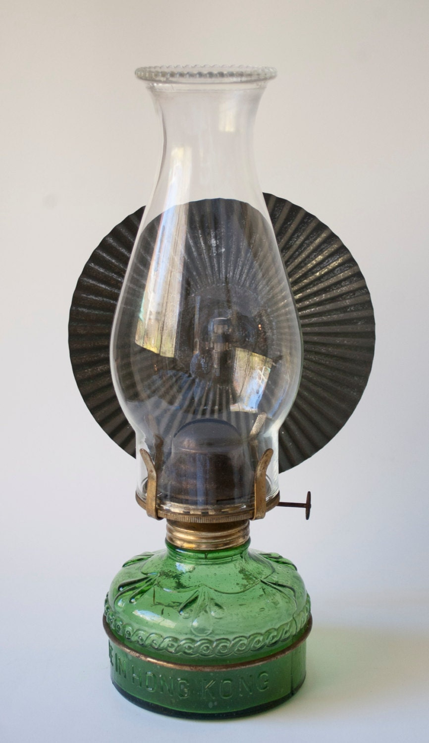 Vintage Kerosene Lamp Green Glass With Tin Reflector Made In