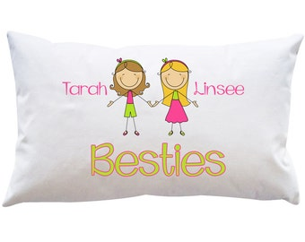 Personalized Custom Girls Best Friend Pillowcase Bedroom Kids Toddler