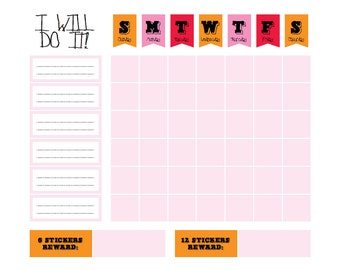 "Printable GIRL Pink Chore Goal Reward Chart - digital PDF file 8.5""x11"""