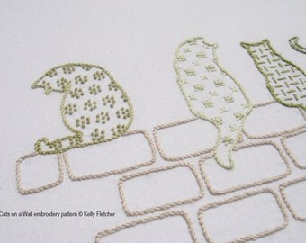 Cats on a Wall modern hand embroidery pattern - modern embroidery PDF pattern, digital download