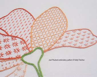 Just Plucked modern hand embroidery pattern - modern embroidery PDF pattern, digital download