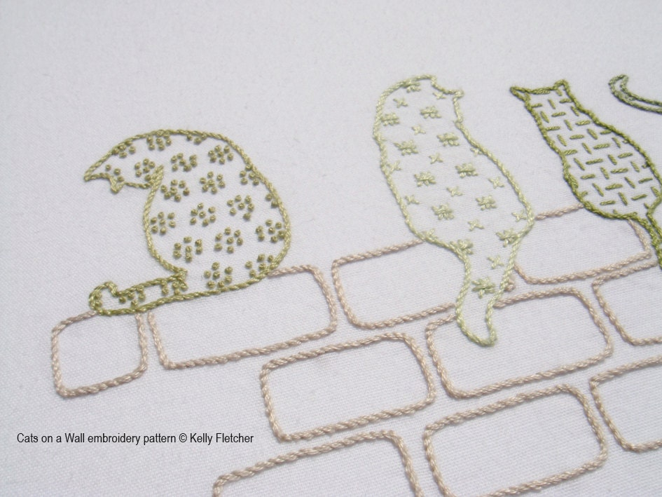 Cats on a wall modern hand embroidery pattern
