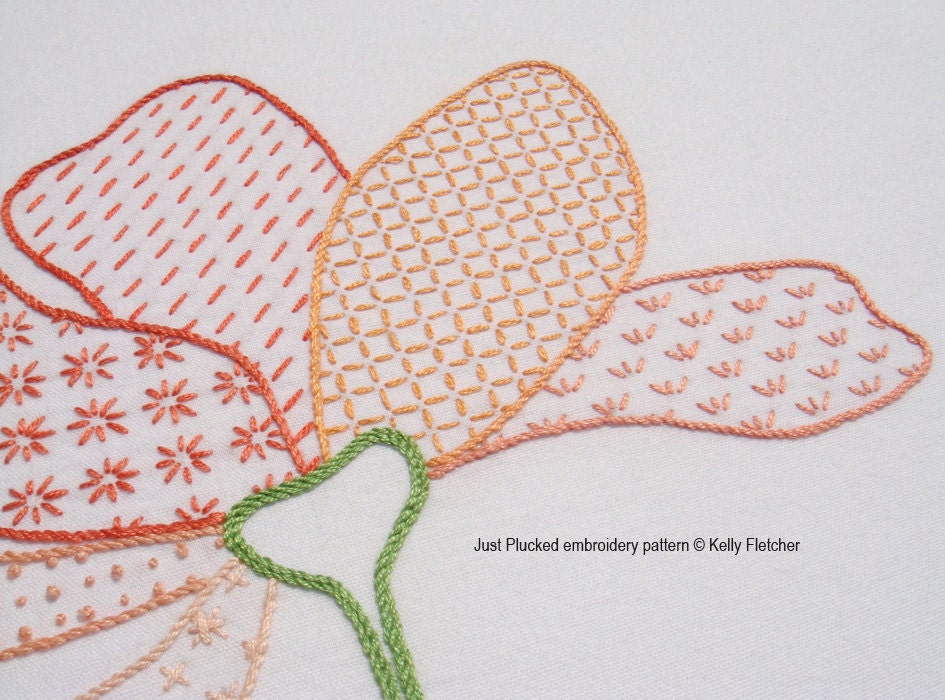 Just plucked modern hand embroidery pattern