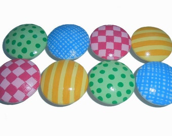 8 Girls Mixed Fun Stripe Custom Hand Painted Drawer Pulls Knobs