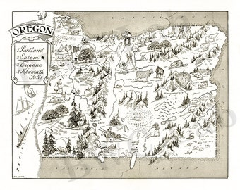 Pictorial Map of Oregon - fun illustration of vintage state map