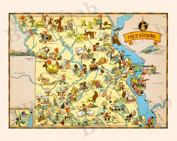 Pictorial Map of Missouri colorful fun illustration of by FunMaps – Missouri Tourist Attractions Map