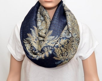 Navy Blue Infinity Scarf with floral Golden Beige pattern