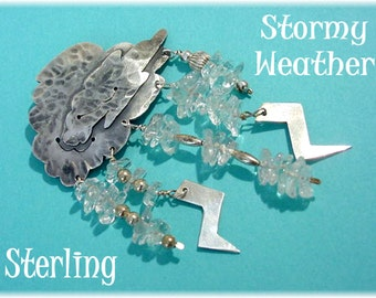 Stormy Weather - Sterling Silver Storm Cloud Lightning Crystal Vintage Brooch Pin - Bad Rabbit Modernist OOAK Jewelry - FREE SHIPPING