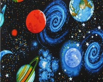 Outer space planets fabric by the yard boy science home for Outer space fabric by the yard