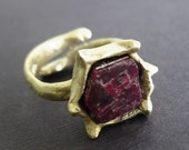 Raw Healing Ruby Bronze Ring Byzantine Medieval  Game of Thrones Lost Treasure Organic Jewelry