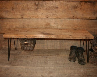 Reclaimed Wood Bench - W/ Hairpin Legs and Locker Basket 3 piece Rustic Industrial Bench with Hairpin Legs