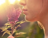 8x10 Warm and sunny photograph of a girl holding flowers, sunlight, lips, girl, purple flowers - Warm Light - NoelleBPhotography