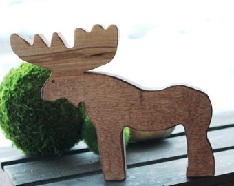 Bull Moose Wooden Toy - Natural Eco Friendly Waldorf Wood Toy