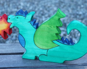 Fire Breathing Dragon Wooden Toy - Waldorf Eco Friendly Natural Wood Toy