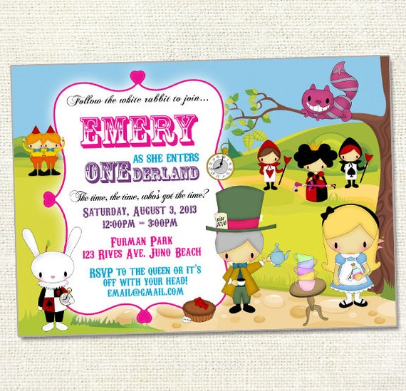 Alice In Onederland Invitations as awesome invitation template