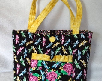 Quilted Purse, Dragonfly - yellow accents