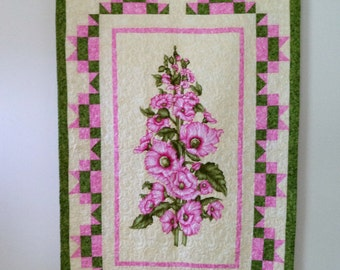 Quilted Wall Hanging, Hollyhocks