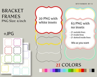 Bracket Digital frames clip art in 21 colors PNG and JPGs, Digital frame clipart  - BR 110
