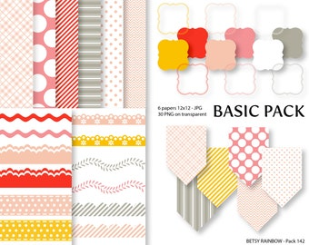 Digital Paper, Clipart Paper Pack, clip art and scrapbook paper in peach and pink  - BR 142