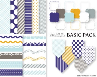 Digital Paper Pack in navy blue, Clipart Paper Pack, scrapbook paper and clip art  - BR 144