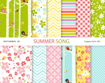Birds and Flowers Digital Paper Pack, 12 Digital Papers Birds and Flowers - BR 189