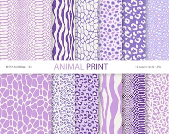 Animal Print Digital Paper Pack, 12 Digital Scrapbook Papers Animal Print in Purple - BR 192