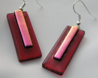 Dichroic Dangle Earrings- Dichroic Pink Glass on Raspberry Glass