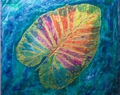 """Leaf, Water, Organic, Colorful, Textile Art, """"Jewel Of The Nile"""", Fiber Art, Art Quilt, Nature, Measures 37 1/2"""" wide by 36 1/2"""""""