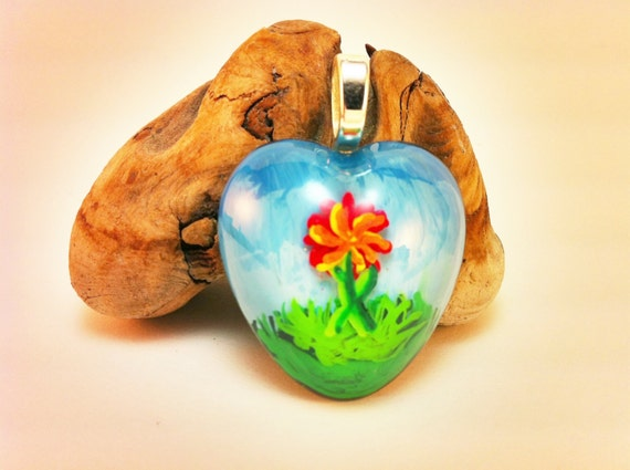Hand painted Resin Pendant - flower and grass with sky background and sterling silver bail