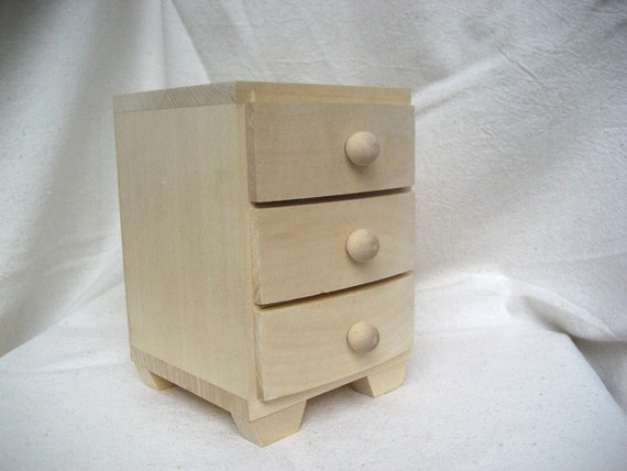 Unfinished wooden box with drawers eco friendly home decor