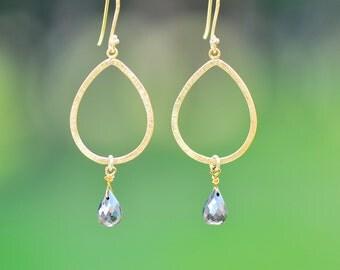Pyrite earrings - Gemstone earrings - Gold drop earrings - Dangle Earrings - teardrop earrings - Raw pyrite stone - fools gold