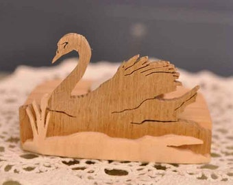 Scroll sawn handcrafted tea light holder - Swan