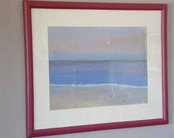 Seascape under moonlight, pastel painting