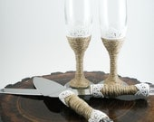 Rustic Wedding Serving Set, Glass Champagne Flutes and Cake Cutting Knives
