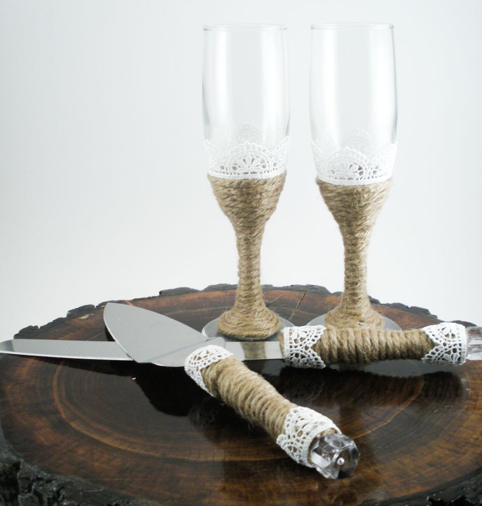 custom wedding accessories rustic wedding serving set glass champagne flutes and cake cutting. Black Bedroom Furniture Sets. Home Design Ideas