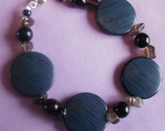 Blue, Black and Smoky Quartz Beaded Bracelet