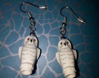 Hand Made Quirky Hedwig OWL Brick Dangle Earrings, Made using LEGO Pieces