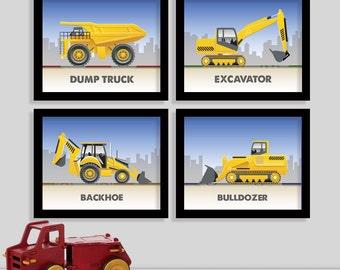 Construction Truck Print Set - Set of Four 8x10 Prints - Nursery Art - Baby Wall Art - Boy Room