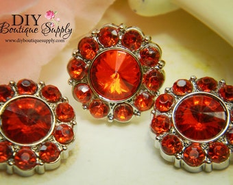 Rhinestone Buttons RED - 21 mm - Acrylic Rhinestone Embellishments Scrapbooking Flower centers Headband Supplies 5 pcs 207035