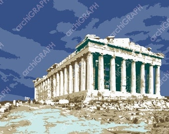 Greek architecture Parthenon Athens Acropolis Greece digital download graphic illustration wall art