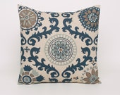 Pillow Cover Blue and Beige Accent Pillow, 18x18 Blue Cushion Cover Blue and Beige Pillow Sham, Indigo and Laken Rosa Medallions