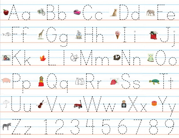 Items similar to Laminated Alphabet Number Sheets for Writing – Abc Trace Worksheet